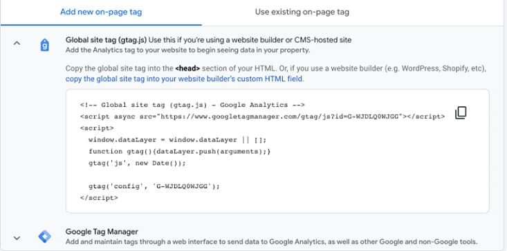 Add New on Page Tag