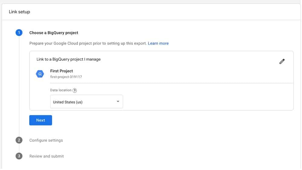Confirm bigquery project selection