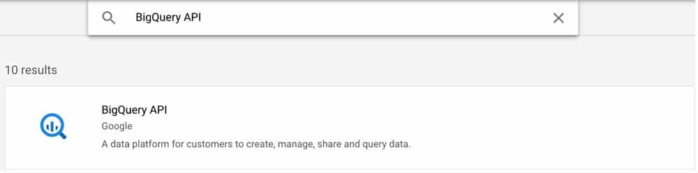 Enable the API to link google analytics 4 with bigquery