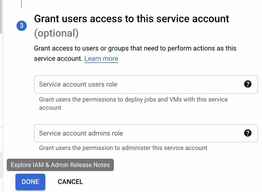 service account permissions