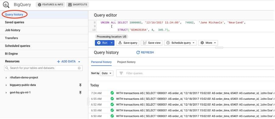 bigquery data queries