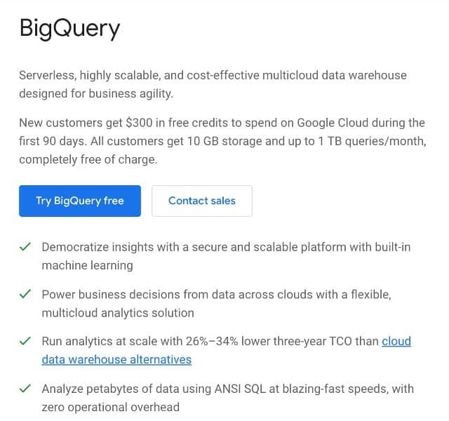 BigQuery account creation
