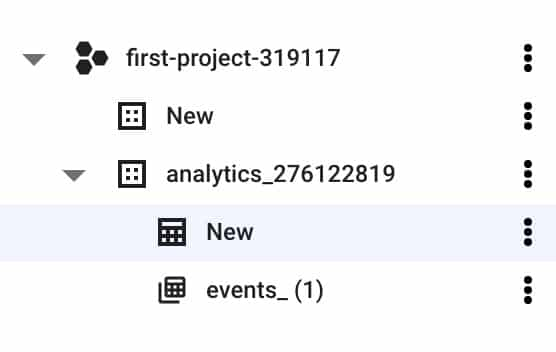 New bigquery table