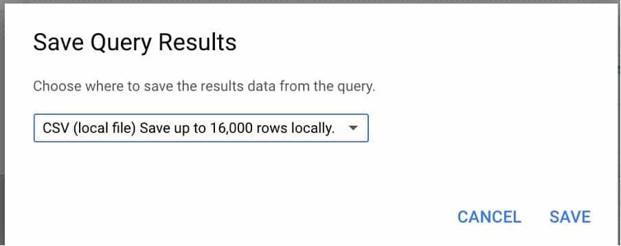 save your query results