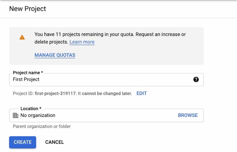Name your project bigquery